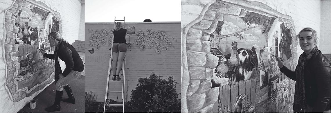 Eefje muurbloempje over mij aan het werk aan muurschilderingen