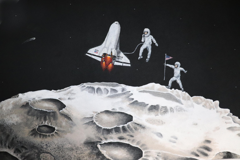 www.eefjemuurbloempje.nl ruimtevaartmuurschildering fragment 2